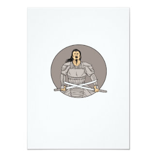 Angry Samurai Warrior Crossing Swords Oval Drawing Card