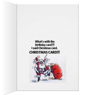 Angry Santa Birthday cartoon Christmas greet card