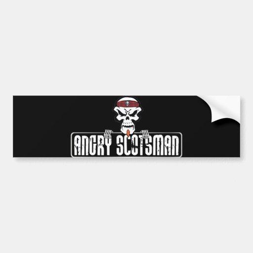 Angry-Scotsman Skull Car Bumper Sticker