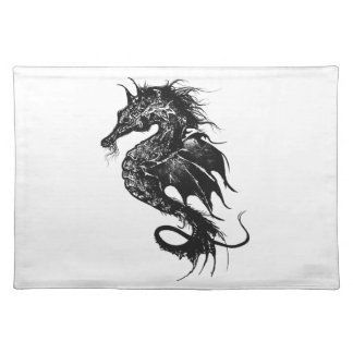 Angry Sea Horse in Black Cloth Placemat