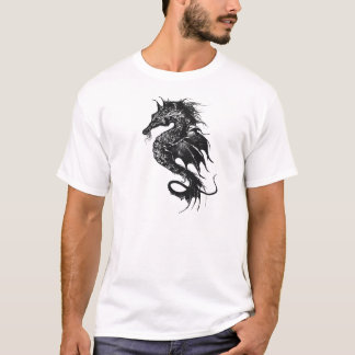 Angry Sea Horse in Black T-Shirt