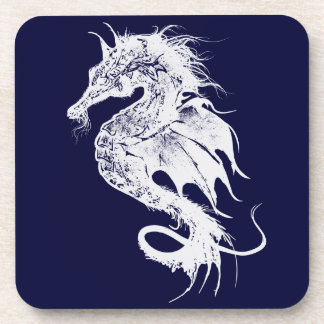 Angry Sea Horse in White Pick Your Background Drink Coaster