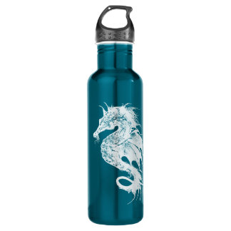 Angry Sea Horse in White Pick Your Background Water Bottle