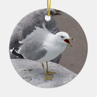 Angry Seagull Ceramic Ornament