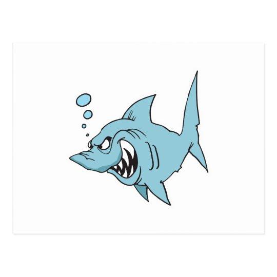 angry shark postcard
