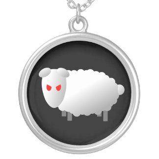 Angry Sheep Round Pendant Necklace