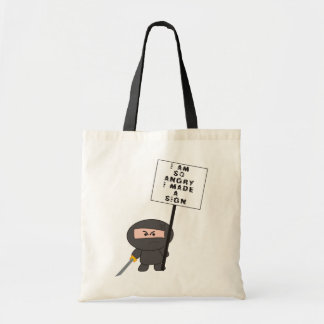 """Angry Sign"" Cushion - A Nawty Ninja Design Tote Bag"