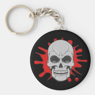 Angry Skull & Blood Splatter: Custom Keychain