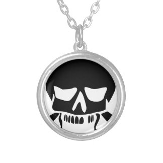 Angry Skull Silver Plated Necklace