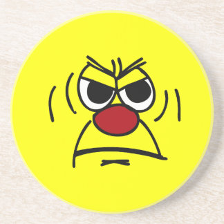 Angry Smiley Face Grumpey Coaster