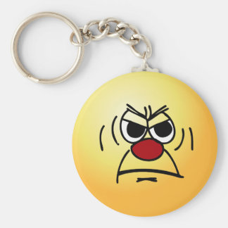 Angry Smiley Face Grumpey Keychain