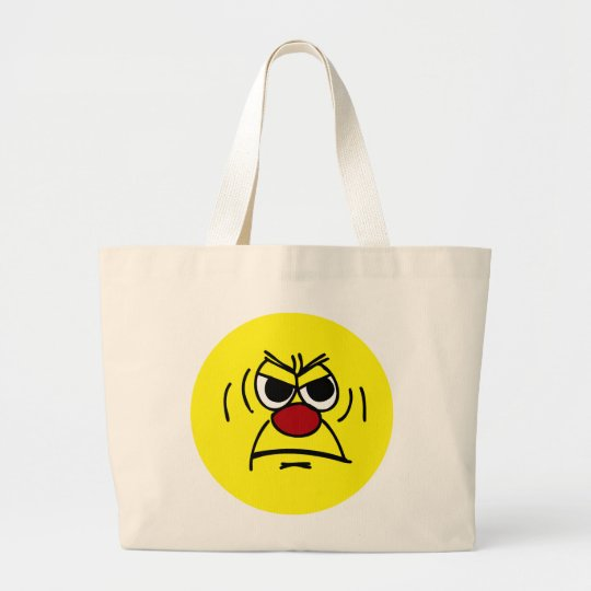 Angry Smiley Face Grumpey Large Tote Bag