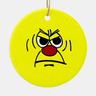 Angry Smiley Face Grumpey Christmas Tree Ornament