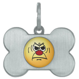 Angry Smiley Face Grumpey Pet ID Tag