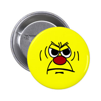 Angry Smiley Face Grumpey Pinback Button