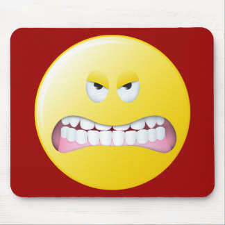 Angry Smiley Face Mouse Pad