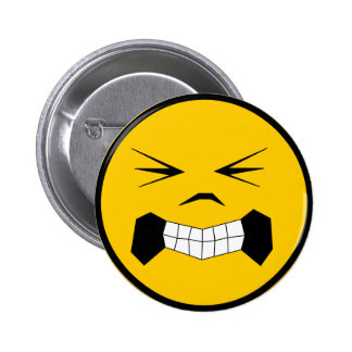 """Angry """"smiley"""" pinback button"""