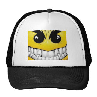 angry smily face trucker hat