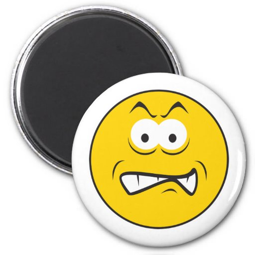 Angry Snarling Smiley Face Magnet