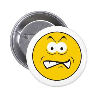 Angry Snarling Smiley Face Pinback Button
