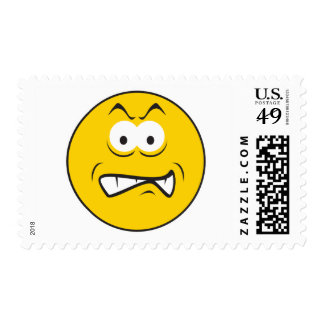 Angry Snarling Smiley Face Postage Stamps