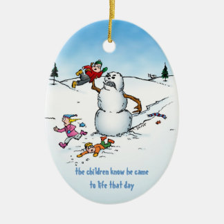 Angry Snowman Funny Holiday Ornament