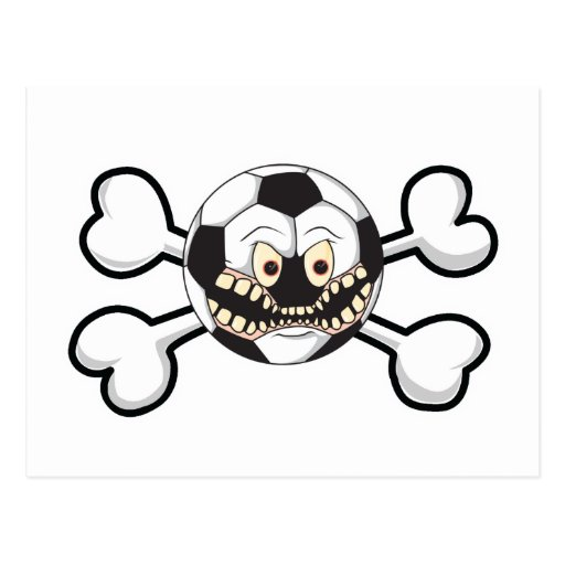 Angry soccer ball Skull and Crossbones Postcard