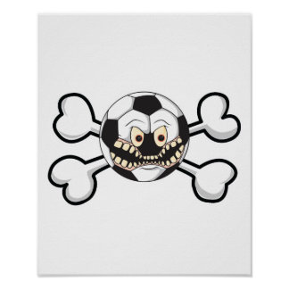 Angry soccer ball Skull and Crossbones Poster