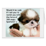 Angry Spartan Puppy Card