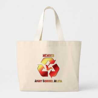 Angry Squirrel Militia Text Logo Large Tote Bag