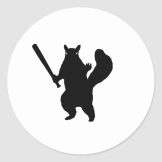 """Angry squirrel says; """"Bring It."""" Classic Round Sticker"""