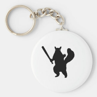 "Angry squirrel says; ""Bring It."" Keychain"