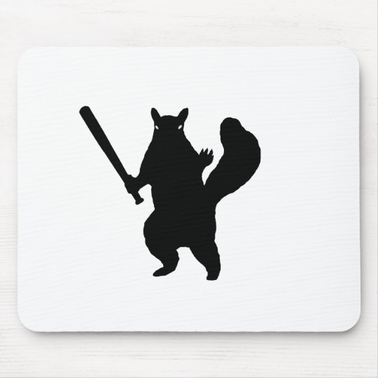 Angry Squirrel With Baseball Bat Mouse Pad