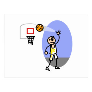 angry stick man basketball postcard