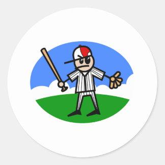 Angry Stick Man Classic Round Sticker