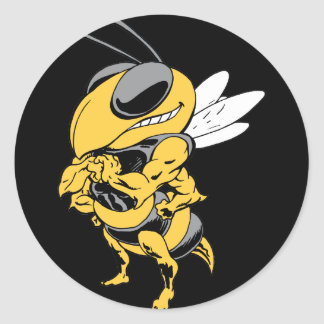 Angry Super Bee Classic Round Sticker