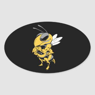 Angry Super Bee Oval Sticker