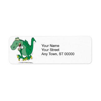 angry t-rex dino tantrum label
