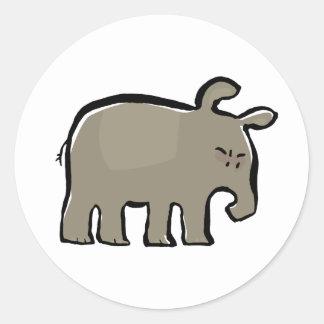 angry tapir round stickers