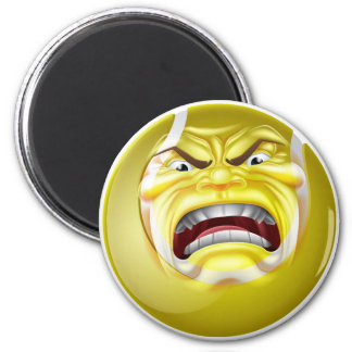 Angry Tennis Ball Sports Cartoon Mascot 2 Inch Round Magnet