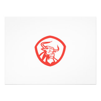 Angry Texas Longhorn Bull Head Shield Retro Personalised Announcement