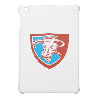 Angry Texas Longhorn Bull Head Shield Woodcut iPad Mini Cover