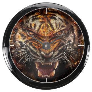 Angry Tiger Breaking Glass Yelow Aquarium Clocks