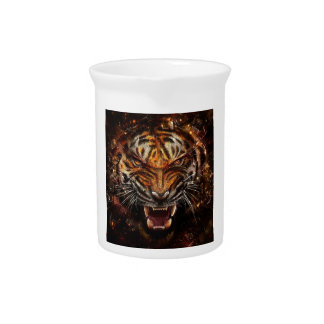 Angry Tiger Breaking Glass Yelow Beverage Pitchers