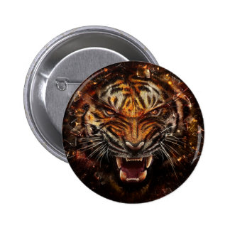Angry Tiger Breaking Glass Yelow Button