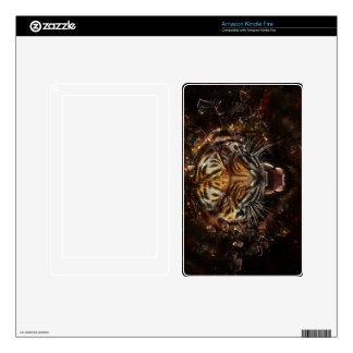 Angry Tiger Breaking Glass Yelow Decal For Kindle Fire