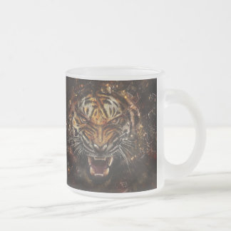 Angry Tiger Breaking Glass Yelow Frosted Glass Coffee Mug
