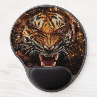Angry Tiger Breaking Glass Yelow Gel Mouse Pad