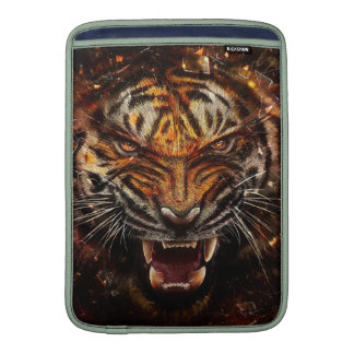 Angry Tiger Breaking Glass Yelow MacBook Sleeve