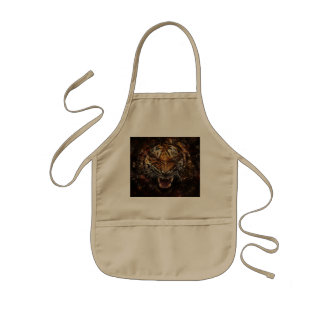 Angry Tiger Breaking Glass Yelow Kids' Apron